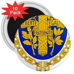 Coat O Arms Of The French Republic 3  Magnets (10 Pack)  by abbeyz71
