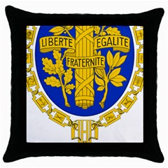 Coat O Arms Of The French Republic Throw Pillow Case (black) by abbeyz71