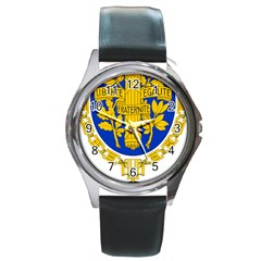 Coat Of Arms Of The French Republic Round Metal Watch by abbeyz71