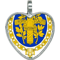 Coat Of Arms Of The French Republic Heart Necklace by abbeyz71