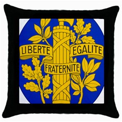 Arms Of The French Republic Throw Pillow Case (black) by abbeyz71