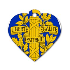 Arms Of The French Republic Dog Tag Heart (two Sides) by abbeyz71