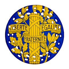 Arms Of The French Republic Round Filigree Ornament (two Sides) by abbeyz71