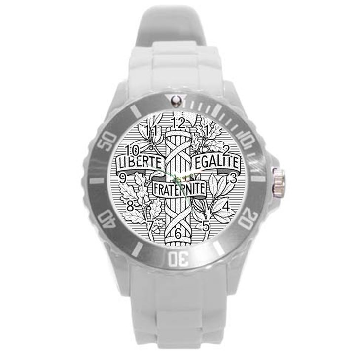 Arms of the French Republic  Round Plastic Sport Watch (L)