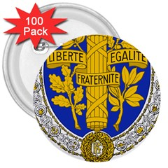 Coat Of Arms Of The French Republic, 1905-1953 3  Buttons (100 Pack)  by abbeyz71