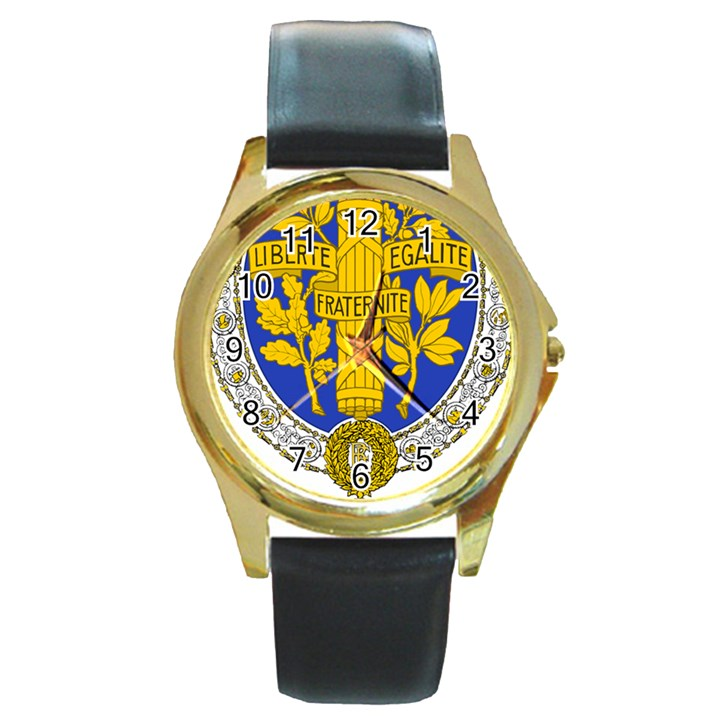 Coat of Arms of the French Republic, 1905-1953 Round Gold Metal Watch