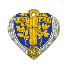 Coat Of Arms Of The French Republic, 1905-1953 Dog Tag Heart (two Sides) by abbeyz71