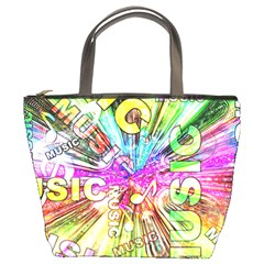 Music Abstract Sound Colorful Bucket Bag