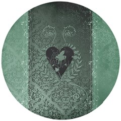 Elegant Heart With Piano And Clef On Damask Background Wooden Puzzle Round by FantasyWorld7