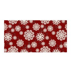Snowflakes On Red Satin Wrap by bloomingvinedesign