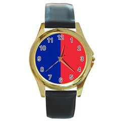 Flag Of Paris Round Gold Metal Watch by abbeyz71