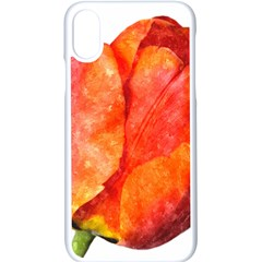Tulip Watercolor Red And Black Stripes Iphone X Seamless Case (white) by picsaspassion