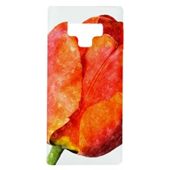 Tulip Watercolor Red And Black Stripes Samsung Galaxy Note 9 Tpu Uv Case by picsaspassion