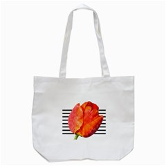 Tulip Watercolor Red And Black Stripes Tote Bag (white) by picsaspassion