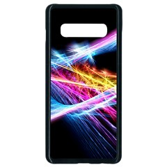Colorful Neon Art Light Rays, Rainbow Colors Samsung Galaxy S10 Plus Seamless Case (black) by picsaspassion