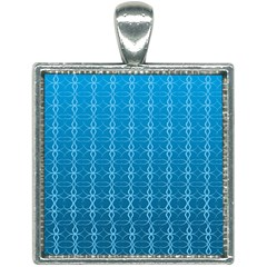 Background Texture Pattern Blue Square Necklace by Jojostore
