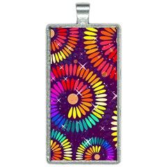 Abstract Background Spiral Colorful Rectangle Necklace