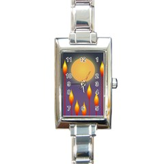 Night Moon Flora Background Rectangle Italian Charm Watch