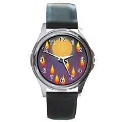 Night Moon Flora Background Round Metal Watch by HermanTelo