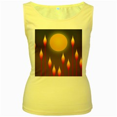 Night Moon Flora Background Women s Yellow Tank Top