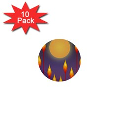 Night Moon Flora Background 1  Mini Buttons (10 pack)