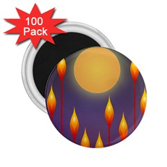 Night Moon Flora Background 2.25  Magnets (100 pack)