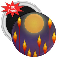 Night Moon Flora Background 3  Magnets (100 pack)