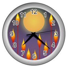 Night Moon Flora Background Wall Clock (Silver)