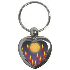 Night Moon Flora Background Key Chain (Heart)