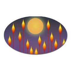 Night Moon Flora Background Oval Magnet