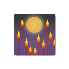 Night Moon Flora Background Square Magnet