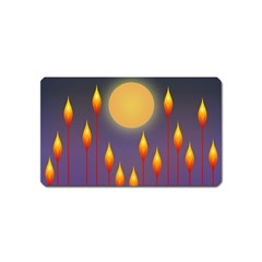 Night Moon Flora Background Magnet (Name Card)