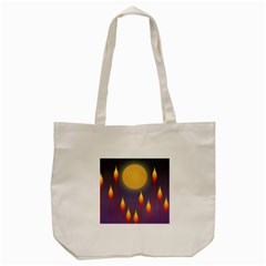 Night Moon Flora Background Tote Bag (Cream)