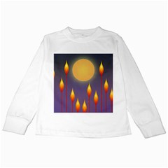 Night Moon Flora Background Kids Long Sleeve T-Shirts