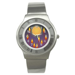 Night Moon Flora Background Stainless Steel Watch