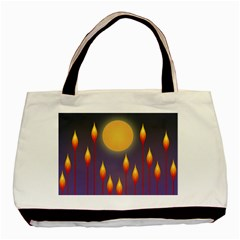 Night Moon Flora Background Basic Tote Bag
