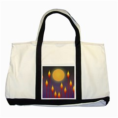 Night Moon Flora Background Two Tone Tote Bag