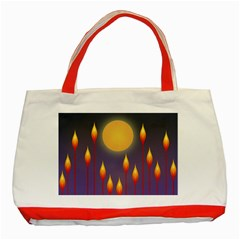 Night Moon Flora Background Classic Tote Bag (Red)