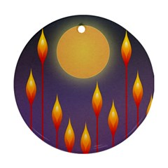 Night Moon Flora Background Round Ornament (Two Sides)