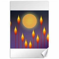 Night Moon Flora Background Canvas 20  x 30