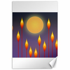 Night Moon Flora Background Canvas 24  x 36
