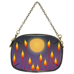 Night Moon Flora Background Chain Purse (Two Sides)