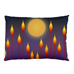 Night Moon Flora Background Pillow Case