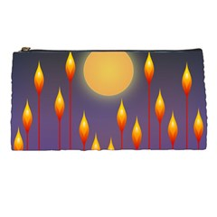 Night Moon Flora Background Pencil Cases
