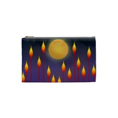 Night Moon Flora Background Cosmetic Bag (Small)
