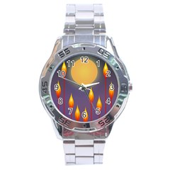 Night Moon Flora Background Stainless Steel Analogue Watch