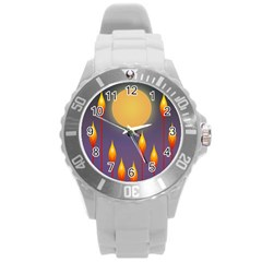 Night Moon Flora Background Round Plastic Sport Watch (l) by HermanTelo