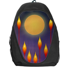 Night Moon Flora Background Backpack Bag