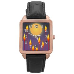 Night Moon Flora Background Rose Gold Leather Watch