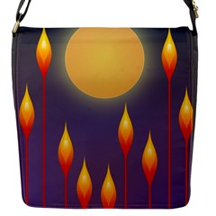 Night Moon Flora Background Flap Closure Messenger Bag (S)